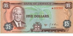 pCS1 SPECIMEN SET $5 *002380 Bank of Jamaica Collector Series Issue. 5000 sets of 4 notes issued in a blue folder with COA. Banknote