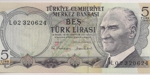 Turkey 5 Lira 1976 P185. Banknote