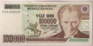 Turkey 100000 Lira 1991 P205. Banknote