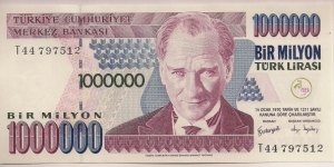 Turkey 1000000 Lira 2002 P213. Banknote