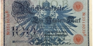 100 Mark(German Empire 1908 / Red seal) Banknote